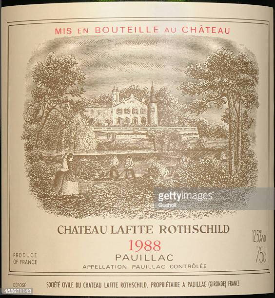 label of lafite rothschild - bordeaux wine stock photos and pictures