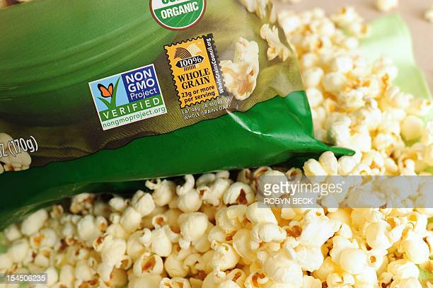 A label on a bag of popcorn indicates it is a nonGMO food product in Los Angeles California October 19 2012 California could become the first US...