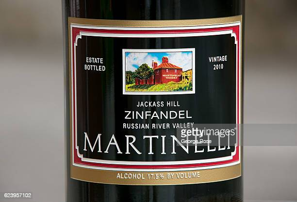 A label on a bottle of Martinelli Winery's Jackass Hill zinfandel is viewed on November 3 near Santa Rosa California After a relatively normal rainy...