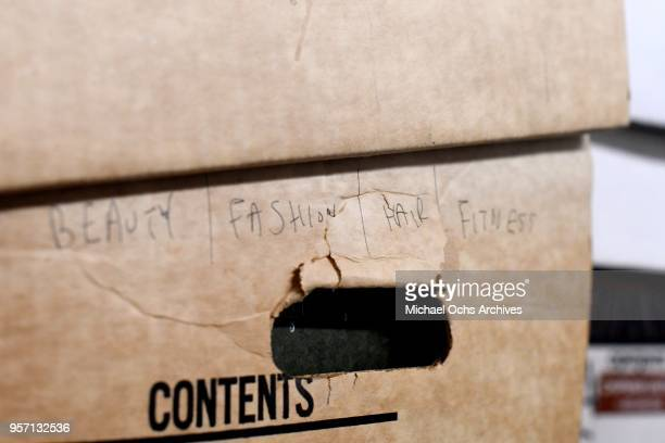 A label on a box reads Beauty Fashion Hair Fitness in the Michael Ochs Archives on May 10 2018 in Los Angeles California