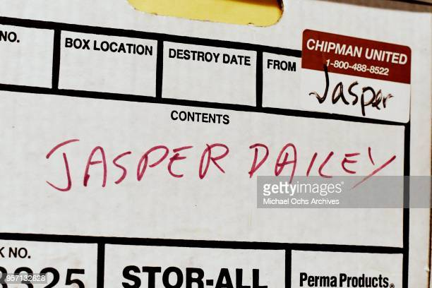 A label on a box reads Jasper Dailey in the Michael Ochs Archives on May 10 2018 in Los Angeles California