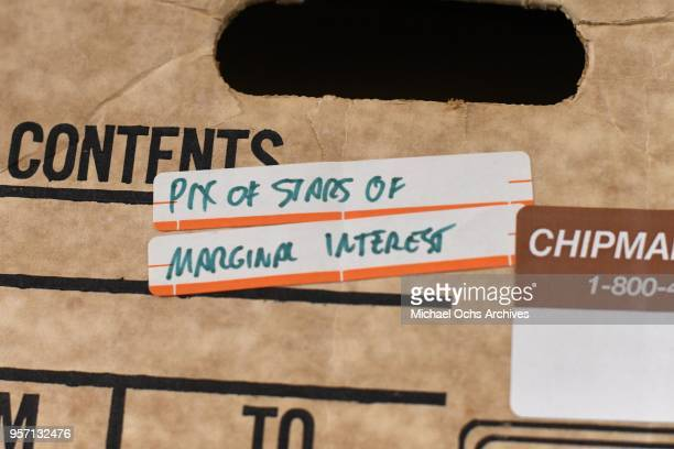 A label on a box reads Pix of Stars of Marginal Interest in the Michael Ochs Archives on May 10 2018 in Los Angeles California