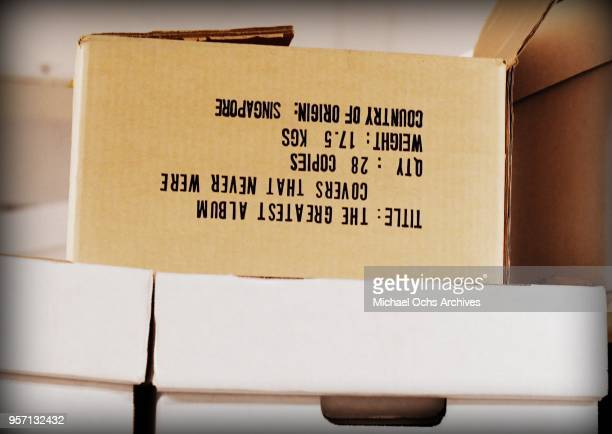 A label on a box reads The Greatest Album Covers that Never Were in the Michael Ochs Archives on May 10 2018 in Los Angeles California