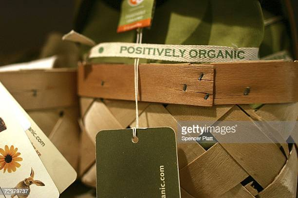 A label on a child's shirt verifies that it is made from organic fiber at Organic Avenue a vegan general store January 11 2007 in New York City...