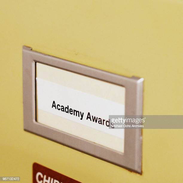 A label on a file cabinet reads Academy Awards in the Michael Ochs Archives on May 10 2018 in Los Angeles California