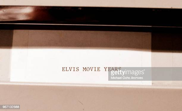 A label on a file cabinet reads Elvis Movie Years in the Michael Ochs Archives on May 10 2018 in Los Angeles California