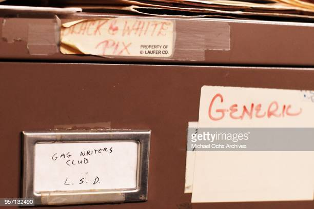 A label on a file cabinet reads Gag Writers Club LSD Generic in the Michael Ochs Archives on May 10 2018 in Los Angeles California