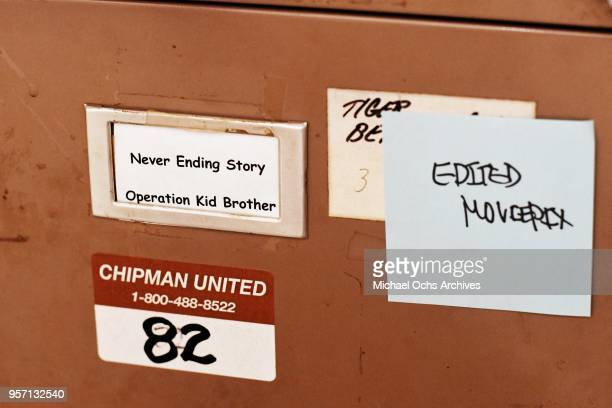 A label on a file cabinet reads Never Ending Story Operating Kid Brother Edited Moviepix in the Michael Ochs Archives on May 10 2018 in Los Angeles...