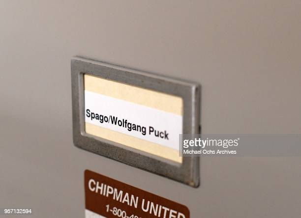 A label on a file cabinet reads Spago/Wolfgang Puckt in the Michael Ochs Archives on May 10 2018 in Los Angeles California