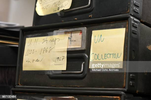 A label on a file cabinet reads UN 2 and a quarter negs 11001868 1967 UN Collection in the Michael Ochs Archives on May 10 2018 in Los Angeles...