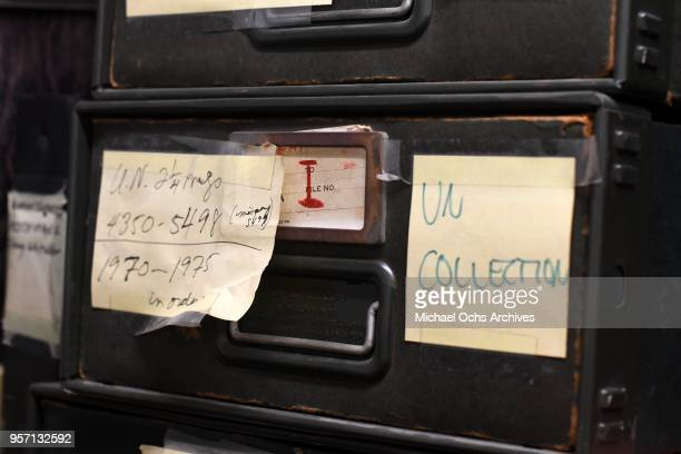 A label on a file cabinet reads UN Collection in the Michael Ochs Archives on May 10 2018 in Los Angeles California