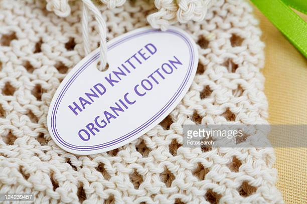 Label on knitted product (close-up)