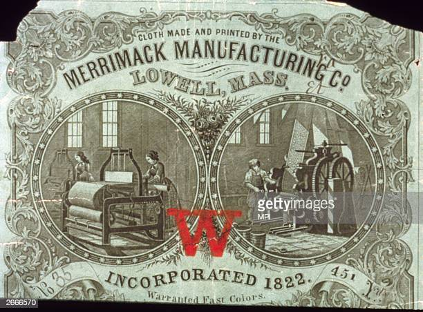 A label stating cloth made and printed by Merrimack Manufacturing in Lowell Massachusetts Colours are warrented to hold fast