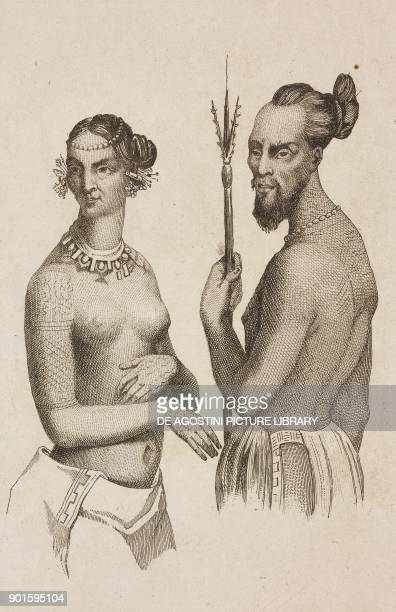 Labeleloa chief of Koutousoff Islands and noble woman Polynesia engraving by Danvin and Mariage from Oceanie ou Cinquieme partie du Monde Revue...