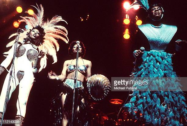 Labelle perform on stage London 11th March 1975 LR Nona Hendryx Sarah Dash Patti Labelle