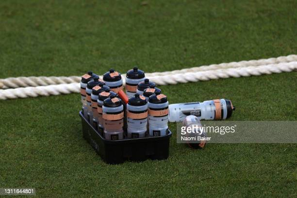 Labelled bottles for each individual player our seen around the boundary during the LV= Insurance County Championship match between Sussex and...