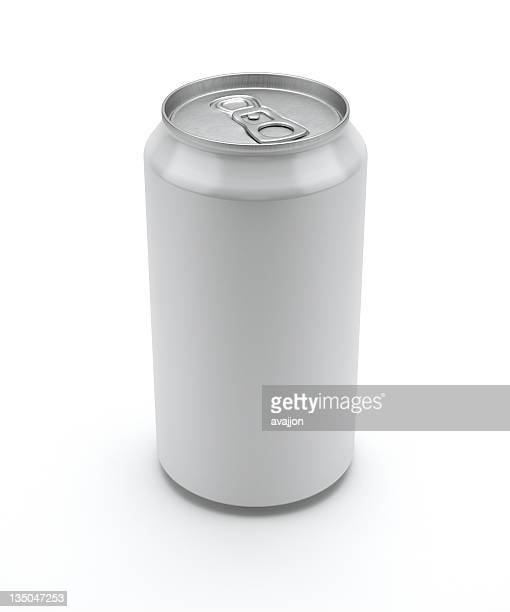 Label-less soda can standing unopened on a white background