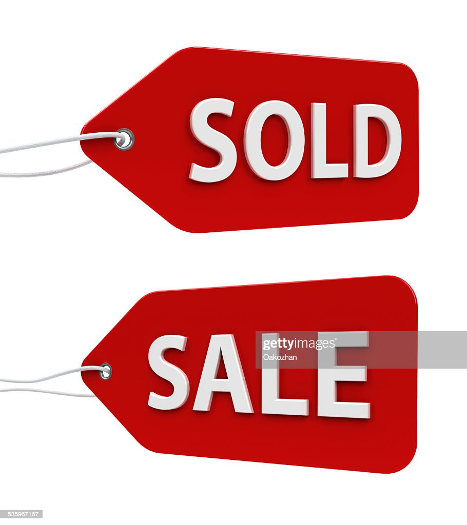 Labels sale and sold : Stock Photo