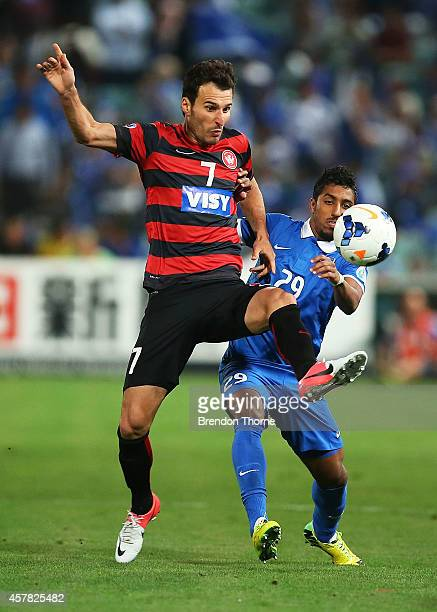 Labinot Haliti of the Wanderers ccompetes with Salem Mohammed Aldawsari of AlHilal during the Asian Champions League final match between the Western...