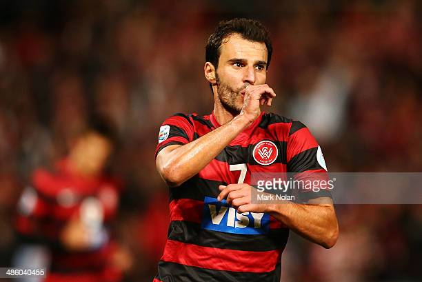 Labinot Haliti of the Wanderers celebrates scoring a goal during the AFC Asian Champions League match between the Western Sydney Wanderers and...