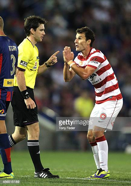 Labinot Haliti of the Wanderers pleads with the referee during the round 10 A-League match between the Newcastle Jets and the Western Sydney...