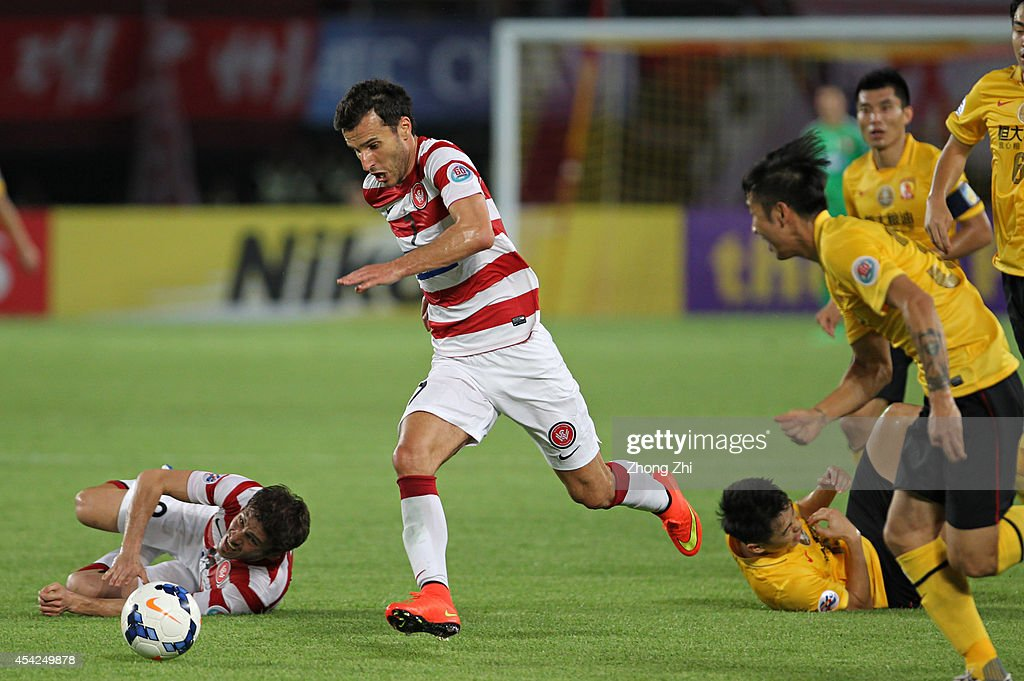 Labinot Haliti of Western Sydney in action during the Asian Champions League Quarter Final match between the Western Sydney Wanderers and Guangzhou Evergrande at Tianhe Sports Center on August 27, 2014 in Guangzhou, China.