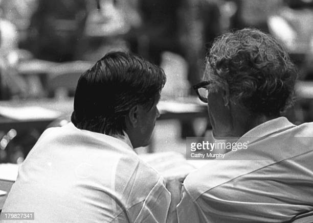 At the United Farm Workers convention labor activist and United Farm Workers cofounder Cesar Chavez and Fred Ross Sr talk La Paz California 1975
