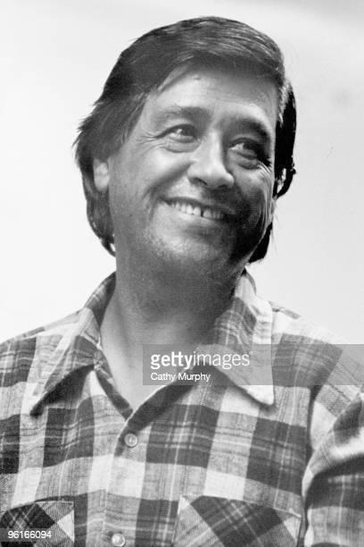 Labor activist Cesar Chavez smiles during a quiet moment ca1970s He is wearing his familiar plaid shirt