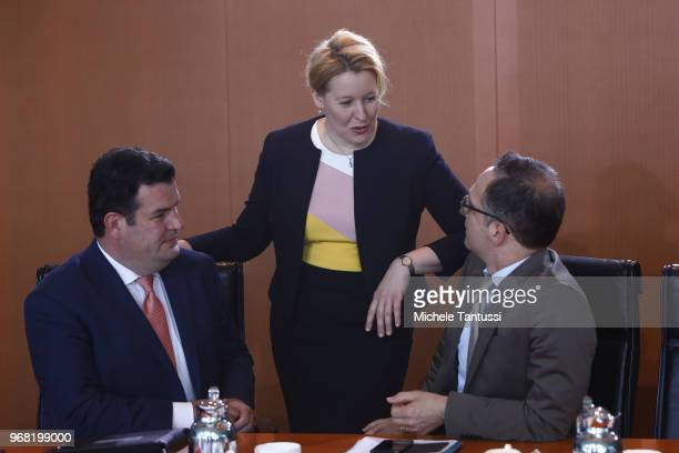 Labor and Social Affairs Minister Hubertus Heil Family Minister Franziska Giffey and Foreign Minister Heiko Maas arrive for the weekly government...