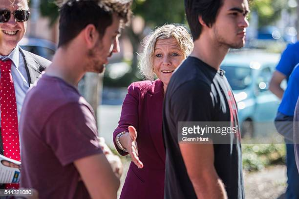 Labor candidate for the seat of Petrie Jacqui Pederson at a polling booth in North Lakes on July 2 2016 in Brisbane Australia Voters head to the...