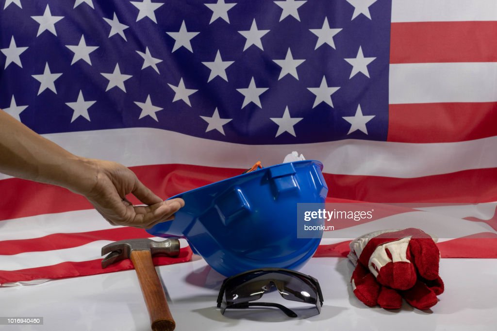Labor day American flag background : Stock Photo