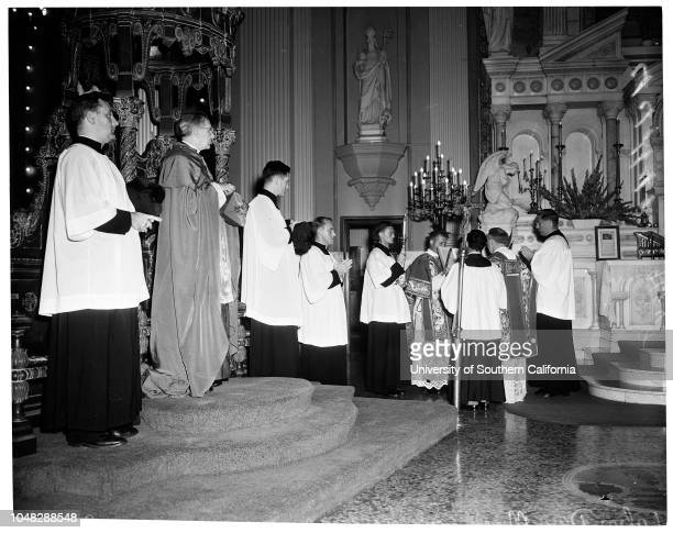 Labor Day Mass , 1 September 1952. Archbishop J Francis A McIntyre;Allan S Haywood ;Robert Taylor ;S Ernest Roll ;Thomas L Pitts ;Reverend Joseph V...