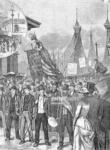 Labor Day of 1882 in Pittsburgh The procession passing over the suspension bridge from Allegheny Woodcut
