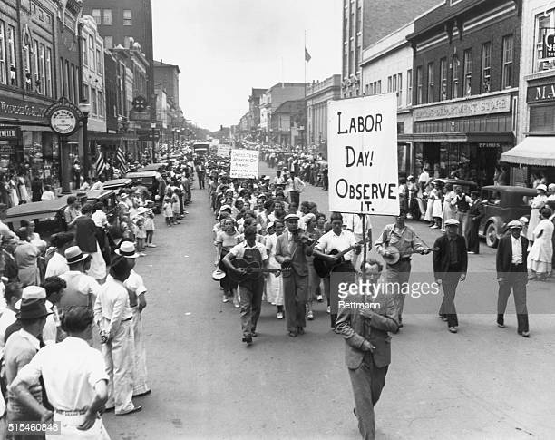Labor Day parade in Gastonia North Carolina composed of tenthousand labor strikers