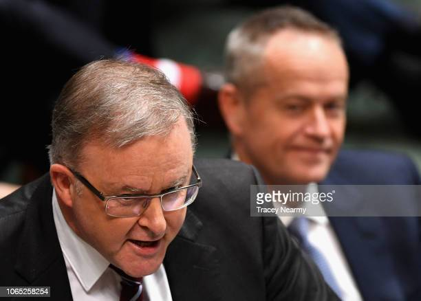 Labor frontbencher Anthony Albanese is watched by Opposition Leader Bill Shorten as he questions Prime Minister Scott Morrison about why Malcolm...
