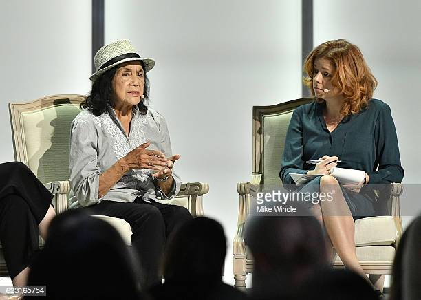 Labor Leader and Civil Rights Activist Dolores Huerta and Marketplace Weekend Host Lizzie O'Leary attend Glamour Women Of The Year 2016 LIVE Summit...