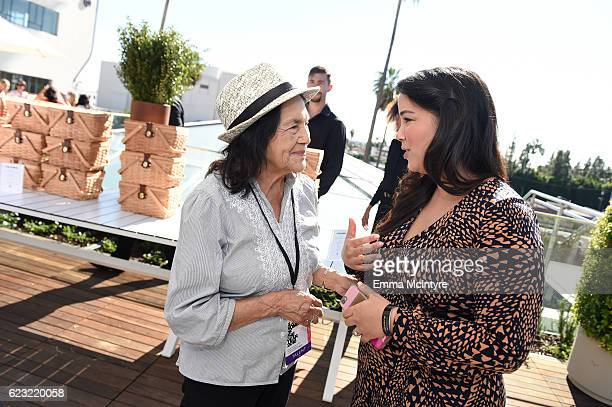 Labor Leader and Civil Rights Activist Dolores Huerta and President SEVI Jennifer Dogruoglu attend Glamour Women Of The Year 2016 LIVE Summit Power...