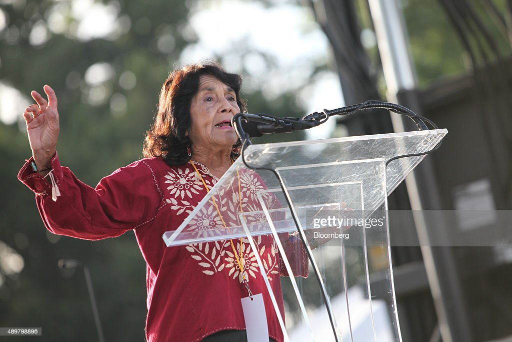 Labor leader and civil rights activist Dolores Huerta speaks during the Moral Action on Climate Justice rally on the National Mall in Washington, D.C., U.S., on Thursday, Sept. 24, 2015. 'Climate change is a problem which can no longer be left to a future generation, Pope Francis said at the White House yesterday. Photographer: Oliver Contreras/Bloomberg via Getty Images