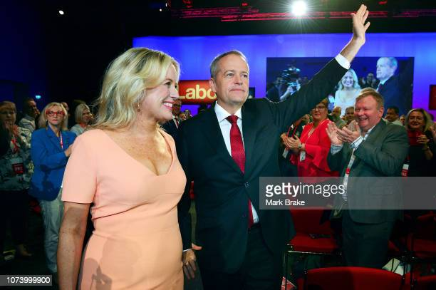 Labor leader Bill Shorten and his wife Chloe arrive at the 2018 ALP National Conference on December 16 2018 in Adelaide Australia It is the Labor...