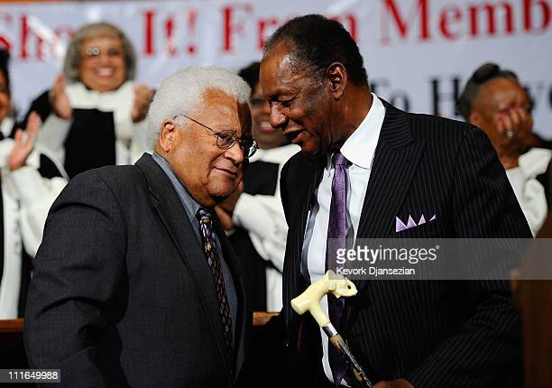 Labor leader William Lucy from AFSCME and civil rights leader Rev James Lawson speaks attend an event in solidarity with union workers in Wisconsin...