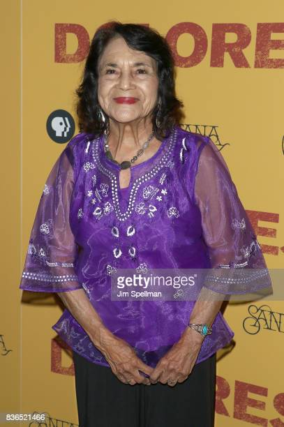 Labor leader/activist Dolores Huerta attends the 'Dolores' New York premiere at The Metrograph on August 21 2017 in New York City