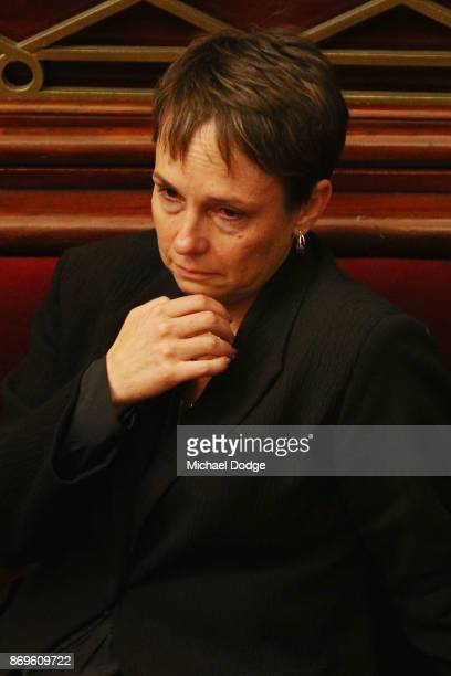 Labor MP Jaala Pulford looks emotional on November 3 2017 in Melbourne Australia Victoria's lower house passed the historic voluntary euthanasia laws...