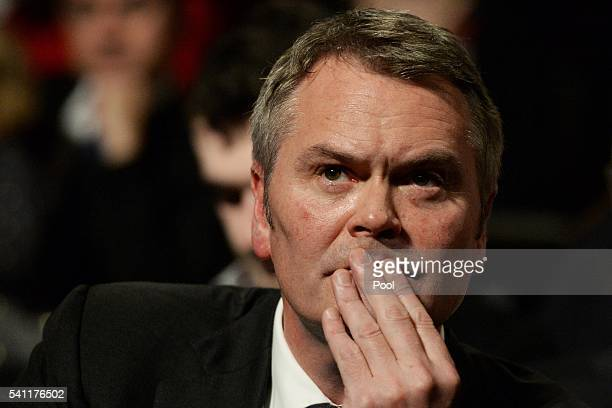 Labor national secretary George Wright listens to the Leader of the Opposition Bill Shorten at the Labor campaign launch at the Joan Sutherland...