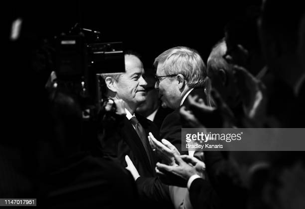 Labor Opposition Leader Bill Shorten greets former Prime Minister Kevin Rudd during the Labor Campaign Launch on May 05 2019 in Brisbane Australia...
