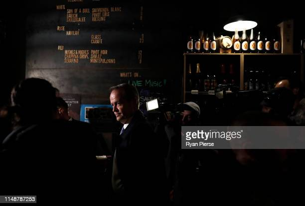 Labor Opposition Leader Bill Shorten has a beer at Saint John Bar on May 13 2019 in Launceston Australia The federal election will be held on 18 May...