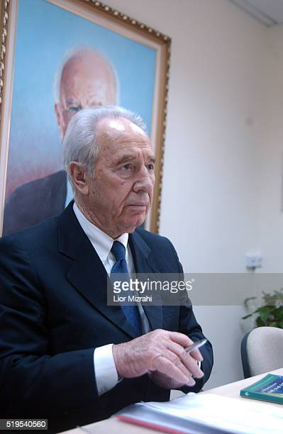 Labor Party chairman Shimon Peres is seen during the Labor Party meeting at the Knesset in Jerusalem Monday July 19 2004. Peres, told his faction...