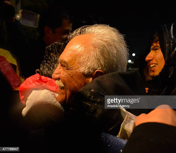 Labor Party leader Dogu Perincek , detainee in the Ergenekon coup plot case released from Silivri Prison in Istanbul following the 8th and the 21th...
