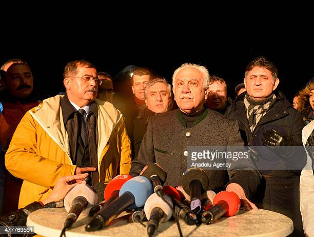 Labor Party leader Dogu Perincek , makes a press statement following his release from Silivri Prison in Istanbul, Turkey on March 10, 2014. Labor...