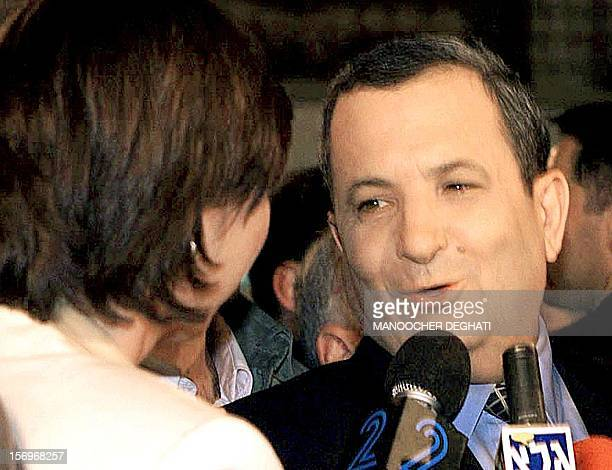 Labor Party leader Ehud Barak answers a reporter in Beer Sheva, near Tel Aviv, 17 May 1999, after he won election as Israel's next prime minister...