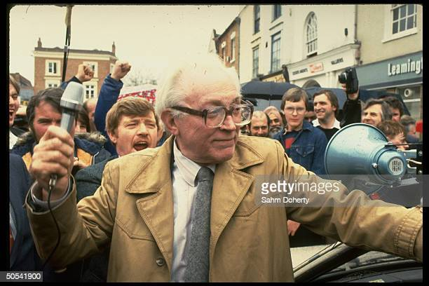Labor Party leader Michael Foot campaigning for Prime Minister in Market Square